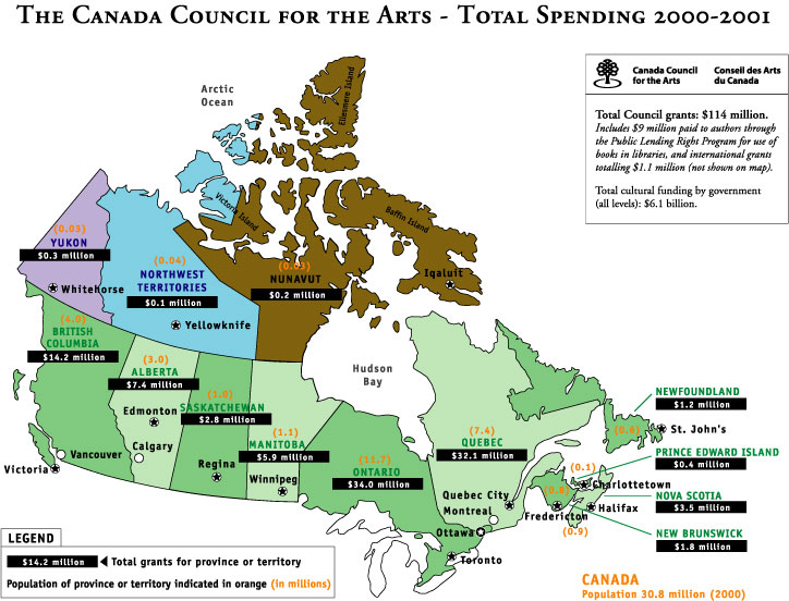 Map Of Canadas 3 Territories.Maps Of Canada Showing Canada Council Funding Canada Council