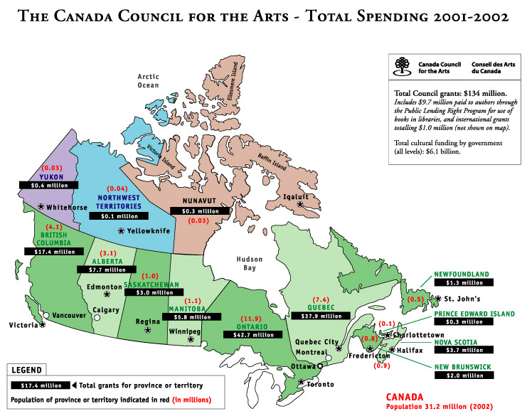 Map Of Canada Yellowknife.Maps Of Canada Showing Canada Council Funding Canada Council