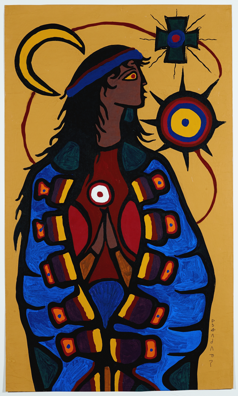The Virgin Mary Artist Norval Morrisseau Year 1966-68 Medium Gouache on cardboard  Collection of the Canada Council Art Bank | Photo: Martin Lipman
