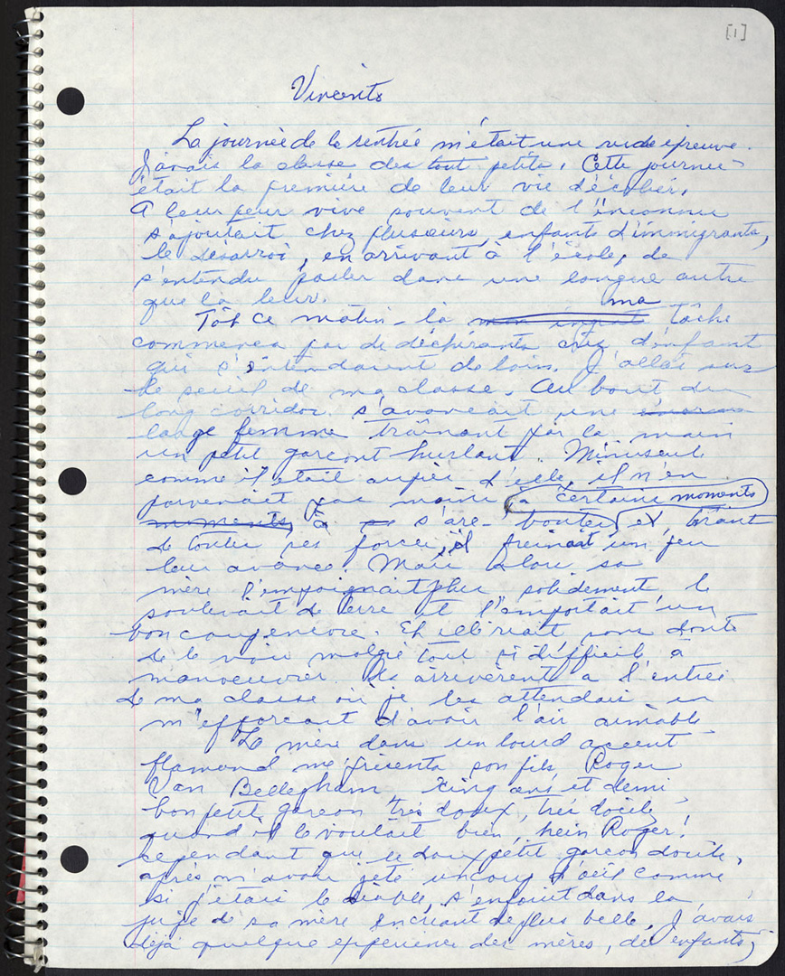 Gabrielle Roy's handwritten manuscript for her novel Ces enfants de ma vie.
