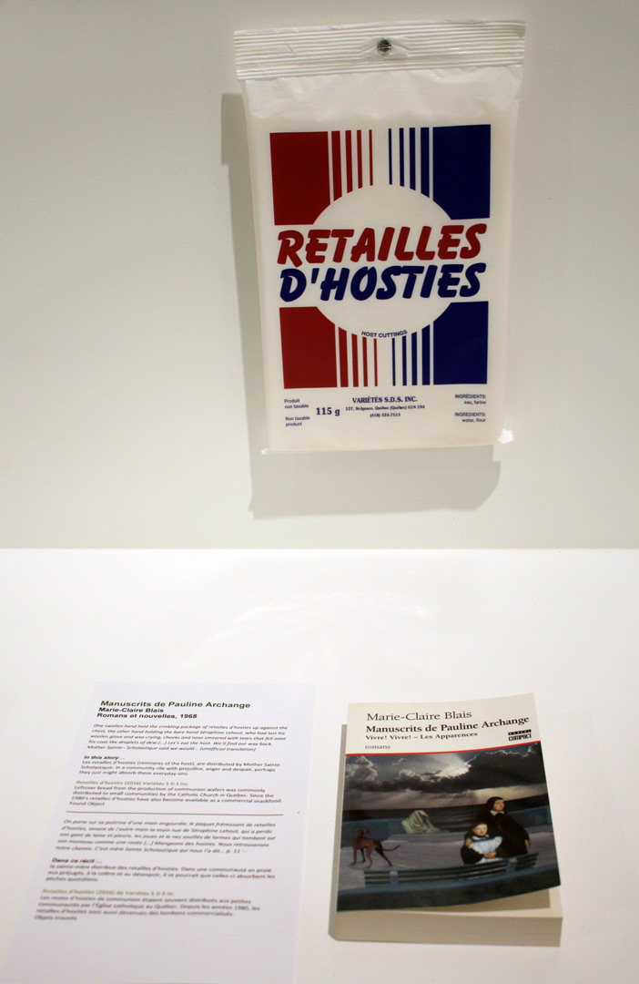 Retailles d'hosties (remnants of the host) accompany Marie-Claire Blais' novel, Manuscrits de Pauline Archange