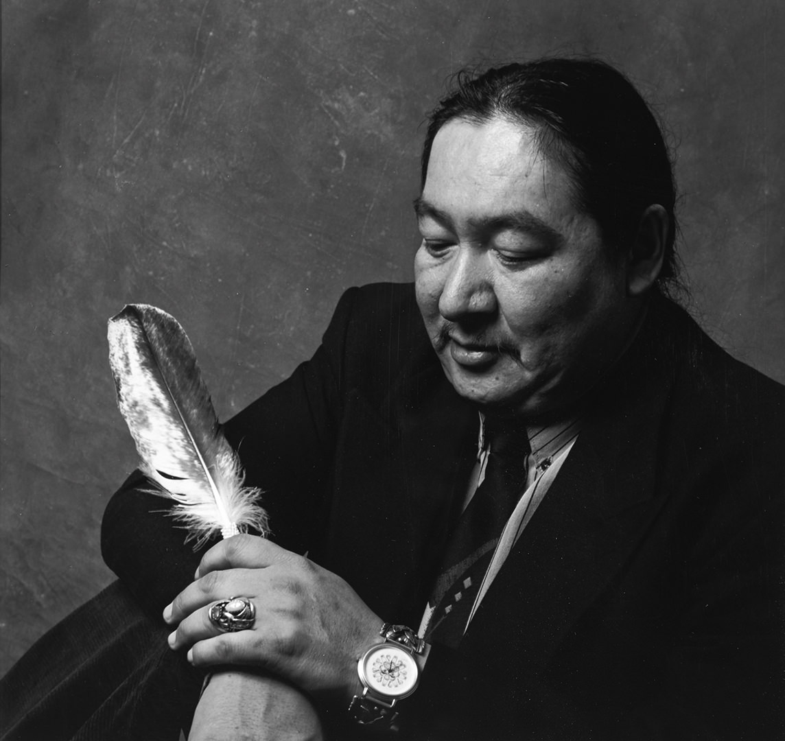 Chief Elijah Harper (1990) David Neel (1960 - ) Bxw photograph Collection: Canada Council Art Bank