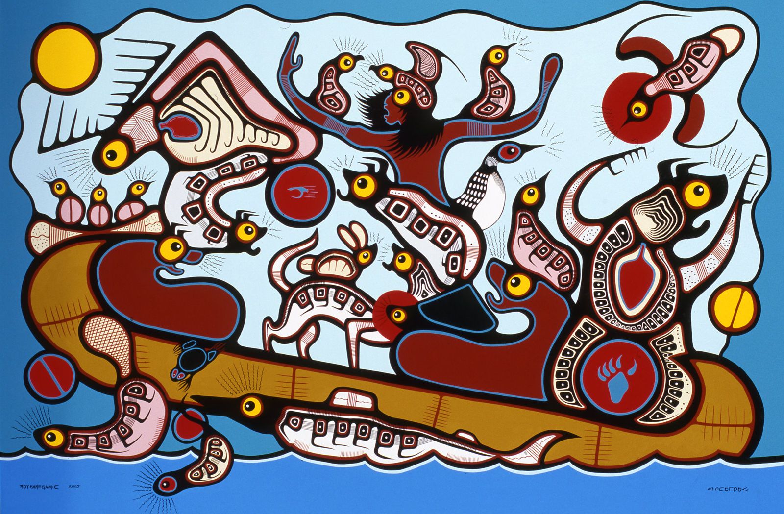 Weesahkay Jack and the Great Flood (2005) Roy Kakegamic (1961 - ) Acrylic on canvas Collection: Aboriginal Affairs and Northern Development Canada