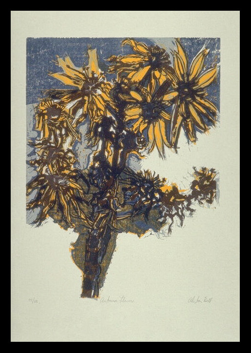 Alistair Bell, Autumn Flowers (1970). Woodcut.