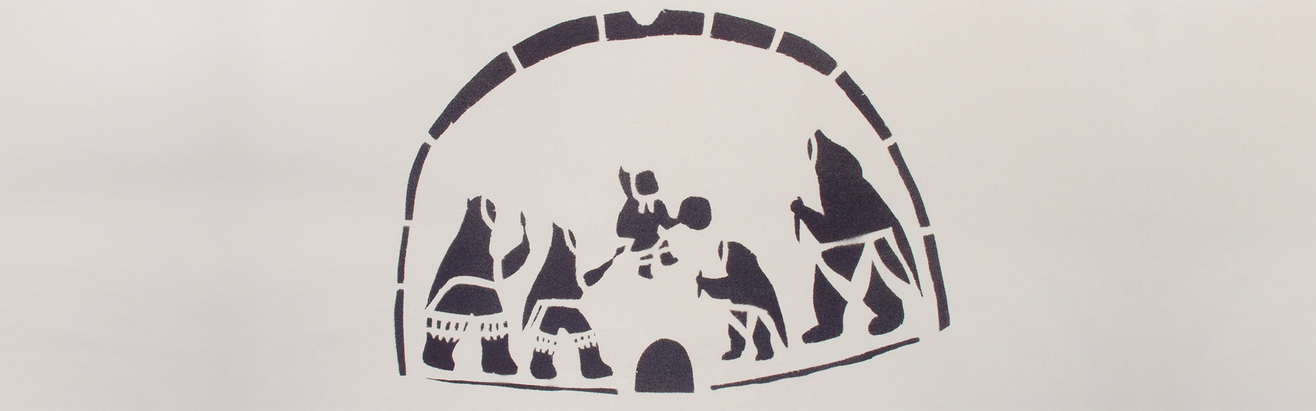 """Dance in igloo,"" a sealskin stencil on paper by Helen Kalvakadlak."