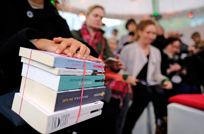 "Artist Marta Minujín presenting her art project ""The Parthenon of Books"" for the opening of ""documenta"" in Kassel"