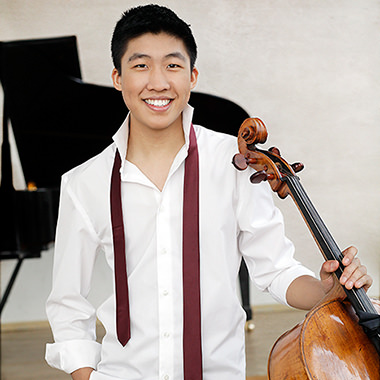 Bryan Cheng, recipient of the 2017 Michael Measures Prize, hold his 1754 Venetian cello by Bartolomeo Tassini.