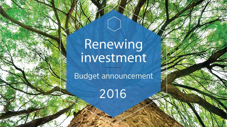 Renewing Investment Budget Announcement 2016