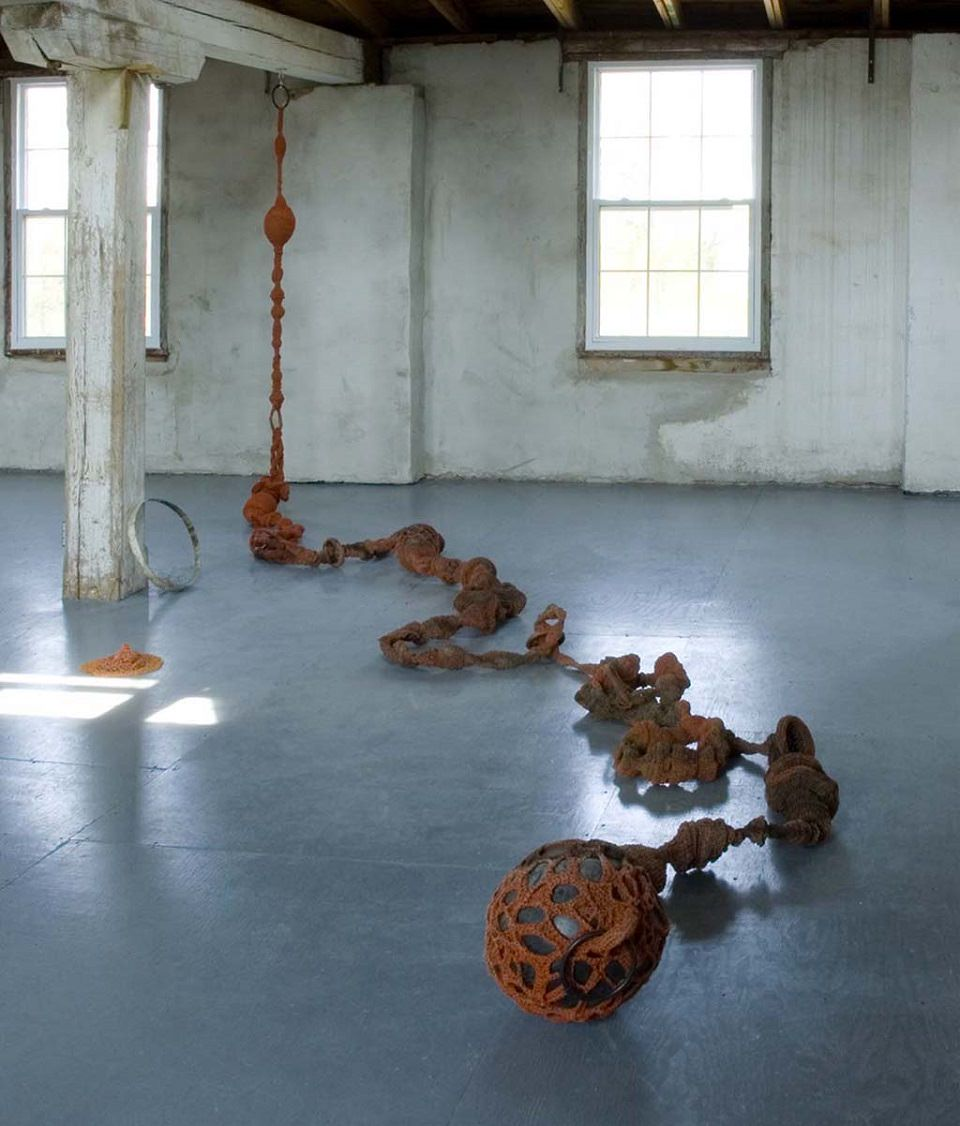 crocheted polytwine, found objects, 40 feet in size