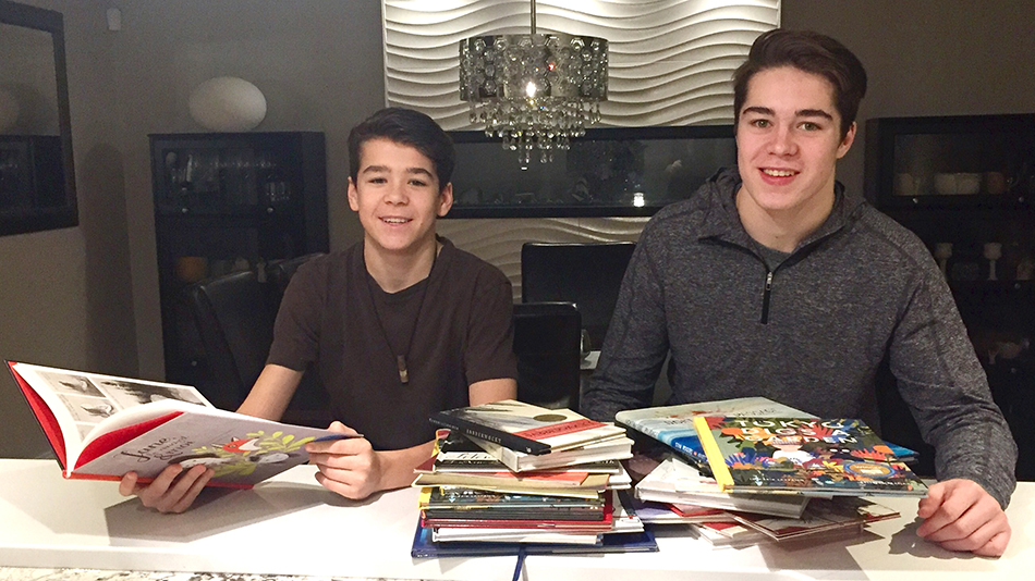 Joanne's grandsons with their collection at Christmas 2016. Alex, age 17 (right), is a senior at RNS (Rothesay Netherwood School) in Rothesay, NB, and Christopher, age 15 (left) is in grade 10 at Harrison Trimble High School in Moncton, NB.
