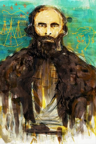 A portrait of Gabriel Dumont. He has piercing eyes, a beard, and wears a fur cape over his shoulders. In the background there are tipis and a buffalo.