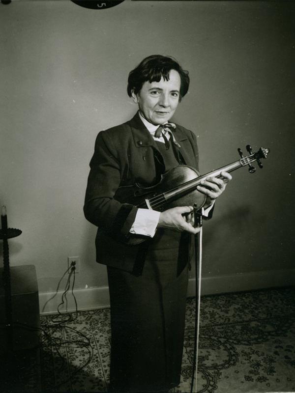 Black and white photo of Sonia Eckhardt-Gramatté taken in 1957