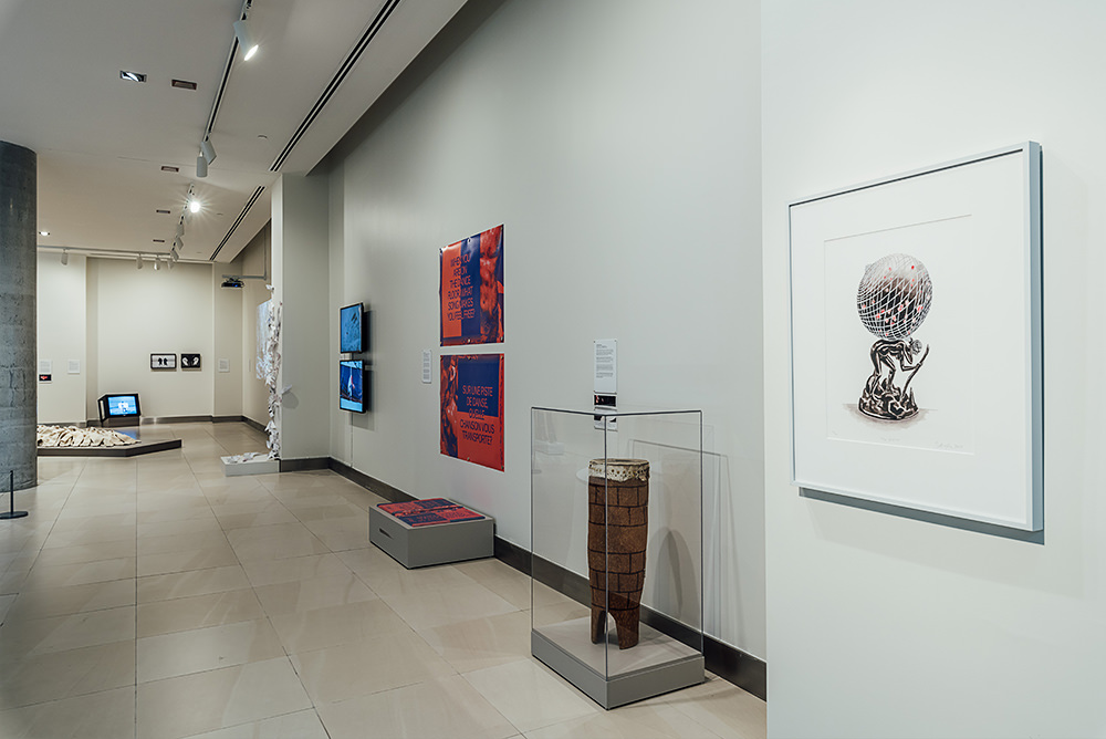 Installation view with Shary Boyle's The Widow, 2013
