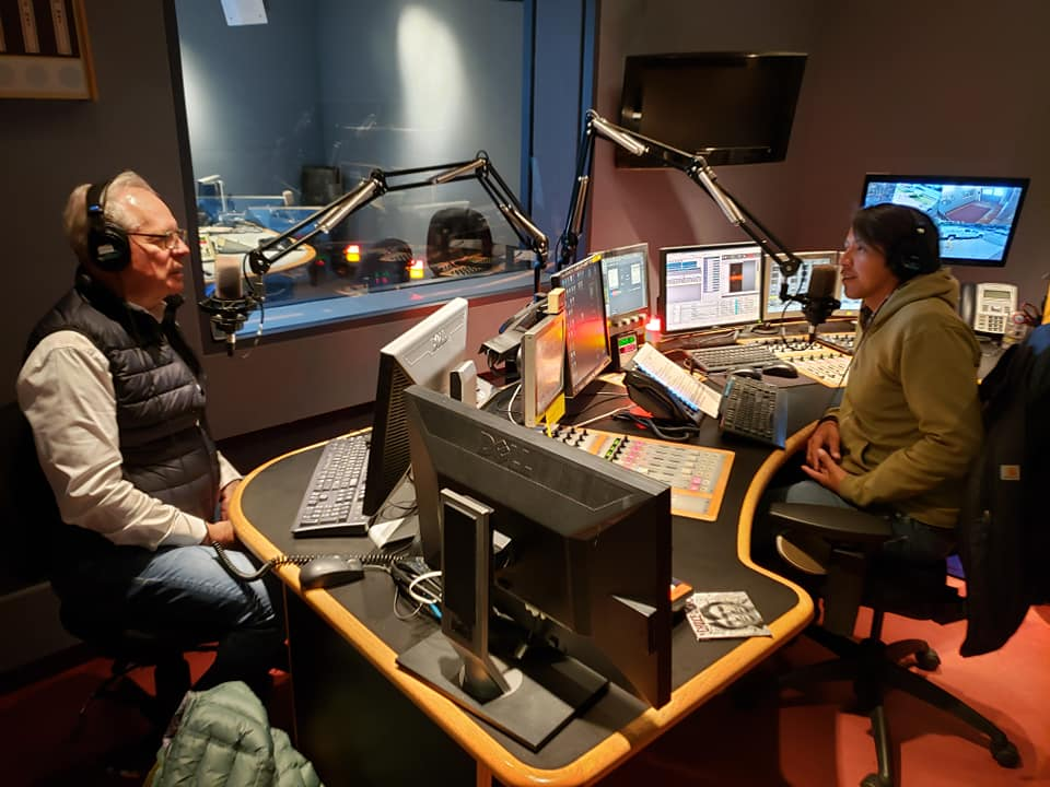 Simon Brault takes part in an interview on Trail's End, a CBC Yellowknife show hosted by Lawrence Nayally.