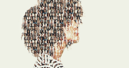 A collage of more than 200 photos of various people. It creates the shape of a person in profile.